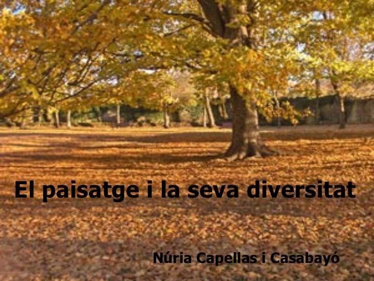 Núria Capellas i Casabayó El paisatge i la seva diversitat