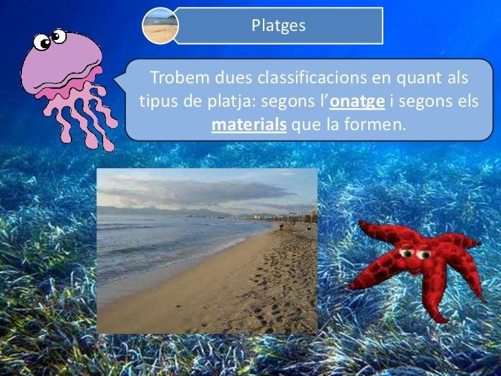 Platges  Trobem dues classificacions en quant alstipus de platja: segons l'onatge i segons els         materials que la fo...