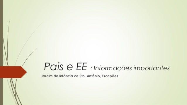 Pais e EE : Informações importantes Jardim de Infância de Sto. António, Escapães