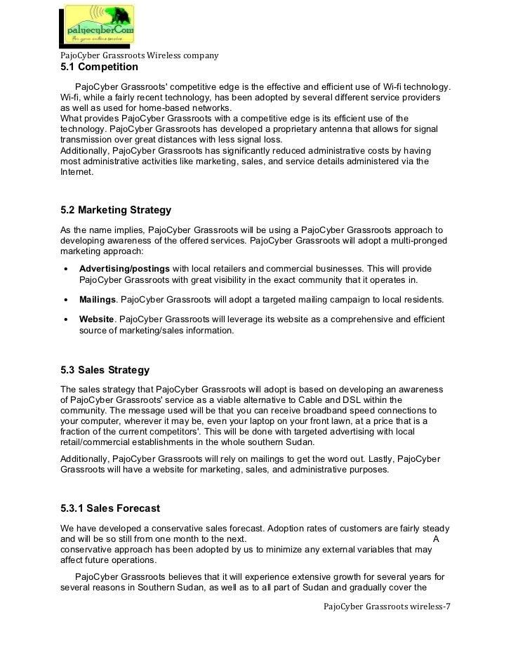 Internet ISP Wireless Business Plan