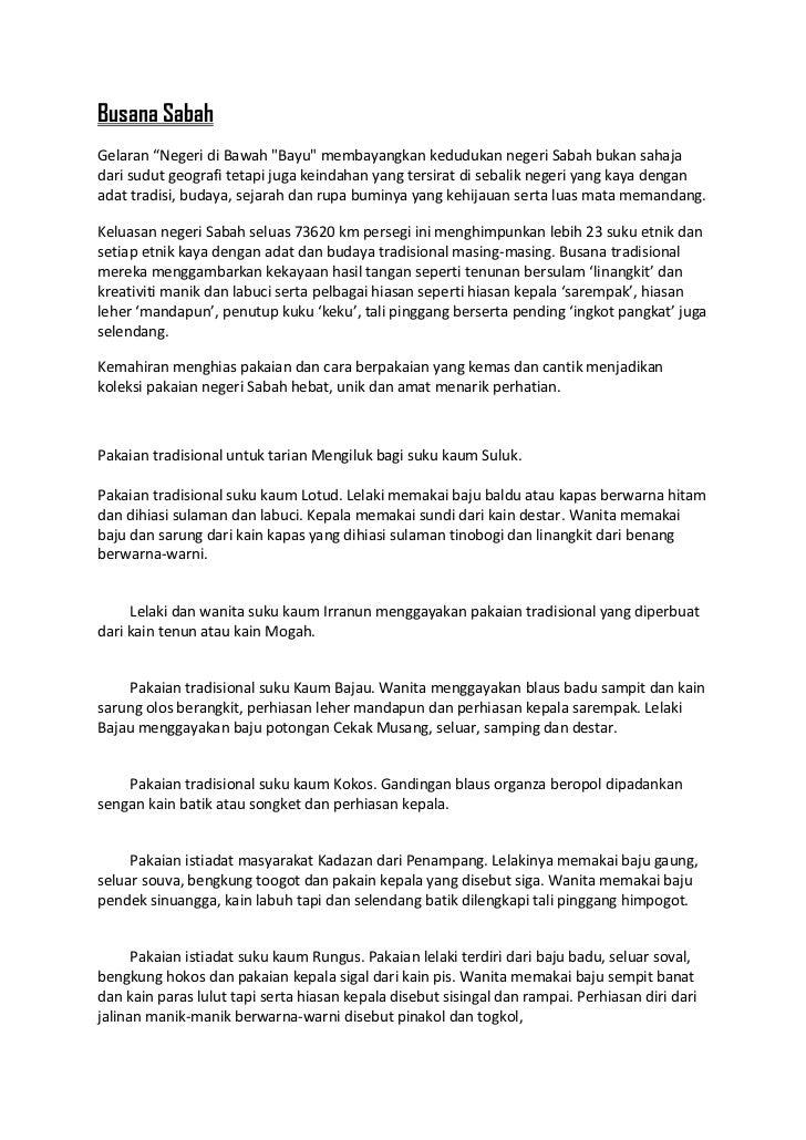 Pakaian Kebudayaan Kaum Busana Sabah