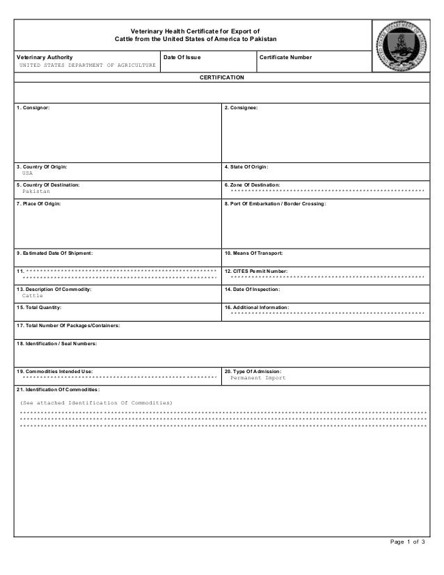 printable certificate of origin template usa veterinary health