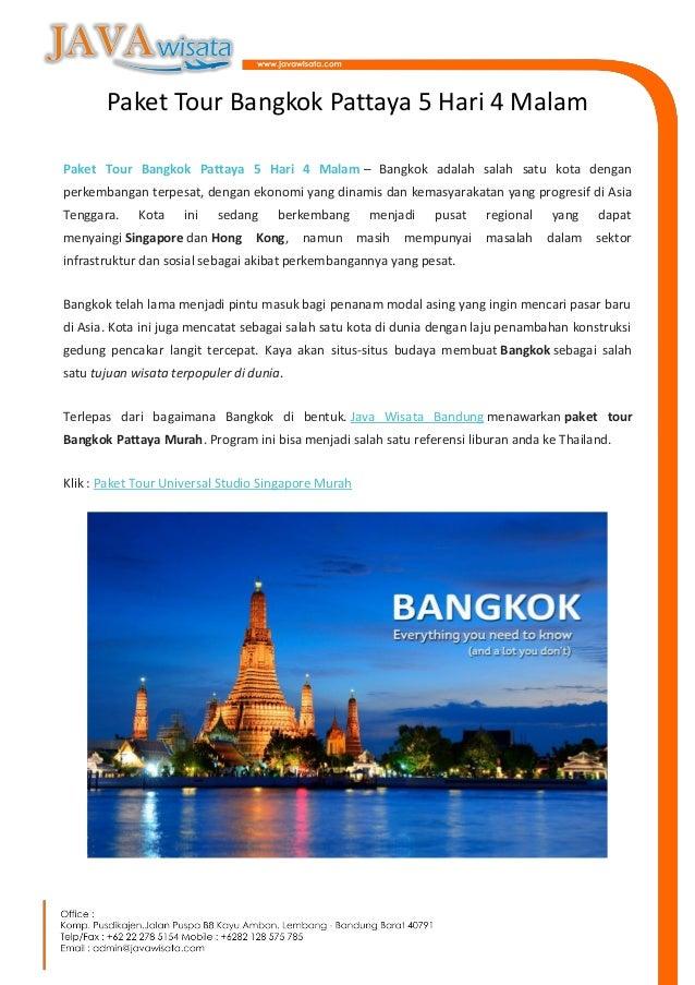 Paket Tour Bangkok Pattaya 5 Hari 4 Malam Java Wisata Tours
