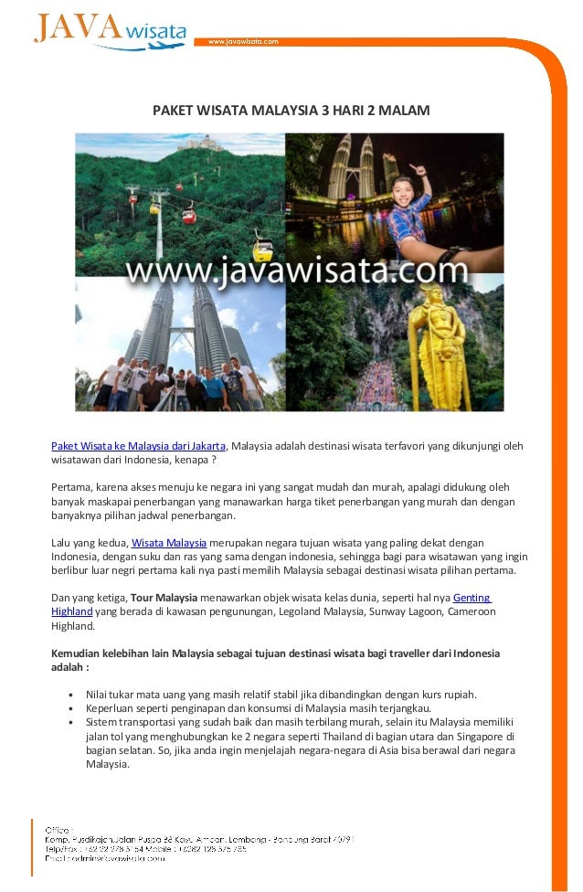Paket Tour Malaysia 3 Hari 2 Malam Dari Bandung