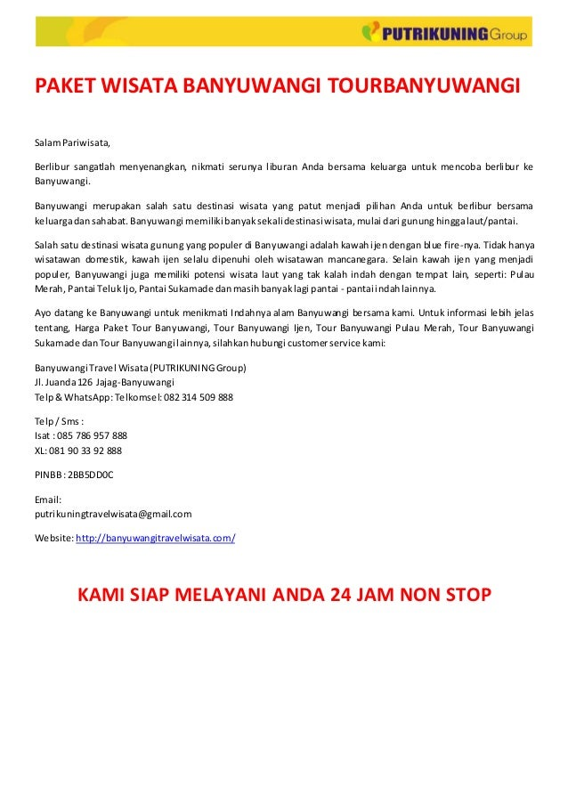 Paket Wisata Banyuwangi Tourbanyuwangi Putrikuning Group