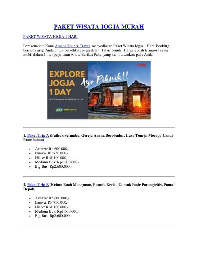 Paket Wisata Jogja Murah 1 Hari