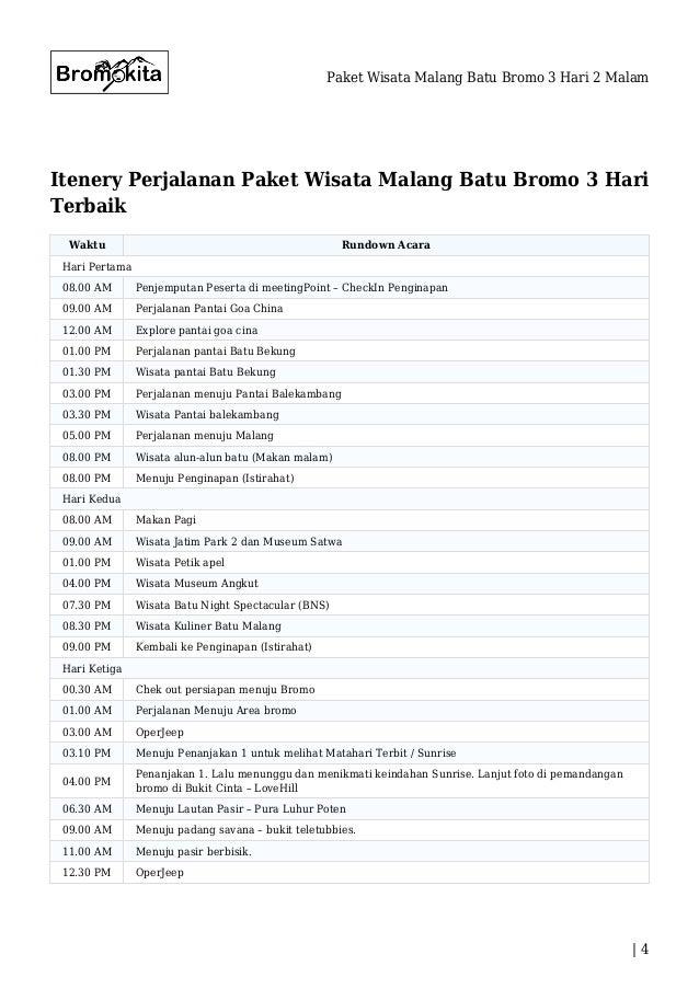 Paket Wisata Malang Batu Bromo 3 Hari 2 Malam
