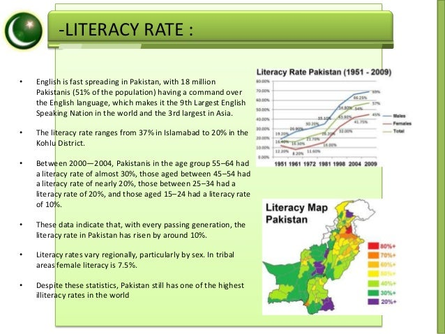 essay on literacy rate in pakistan Essay:- education in pakistan hi, i am new member the frequently used indicators for assessing education and its systems are adult literacy rates.