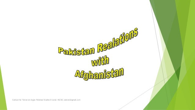 pakistan and afghanistan relationship pdf