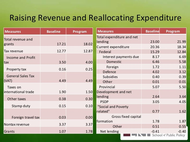 Raising Revenue and Reallocating Expenditure<br />