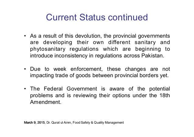 Pakistan Status of Food Laws and Regulations 2015