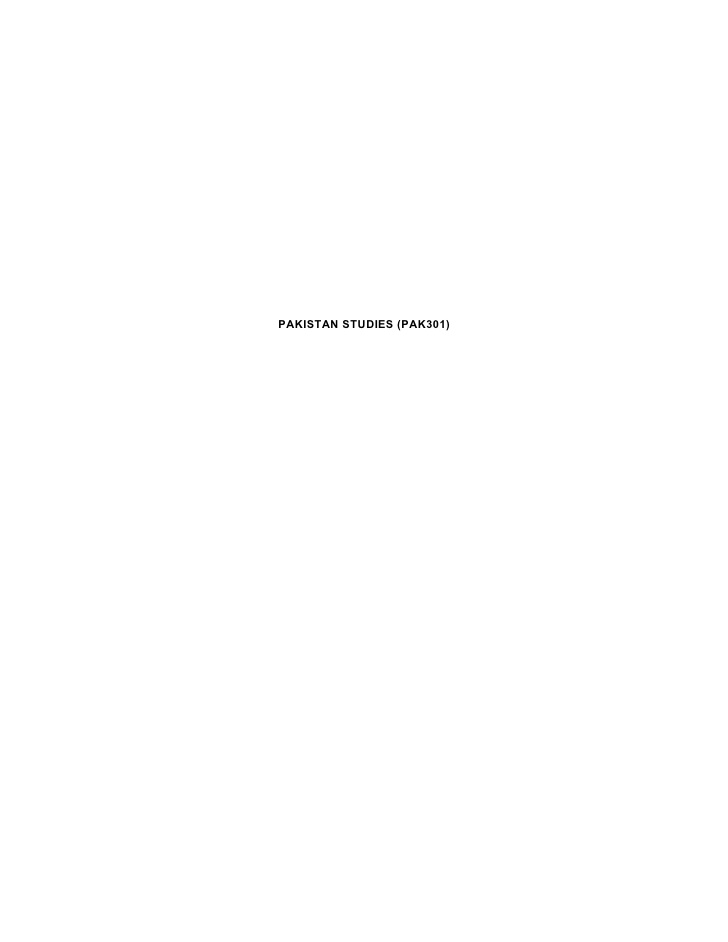 PAKISTAN STUDIES (PAK301)