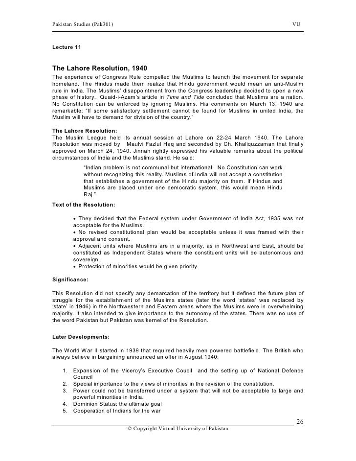 Pakistan studies notes