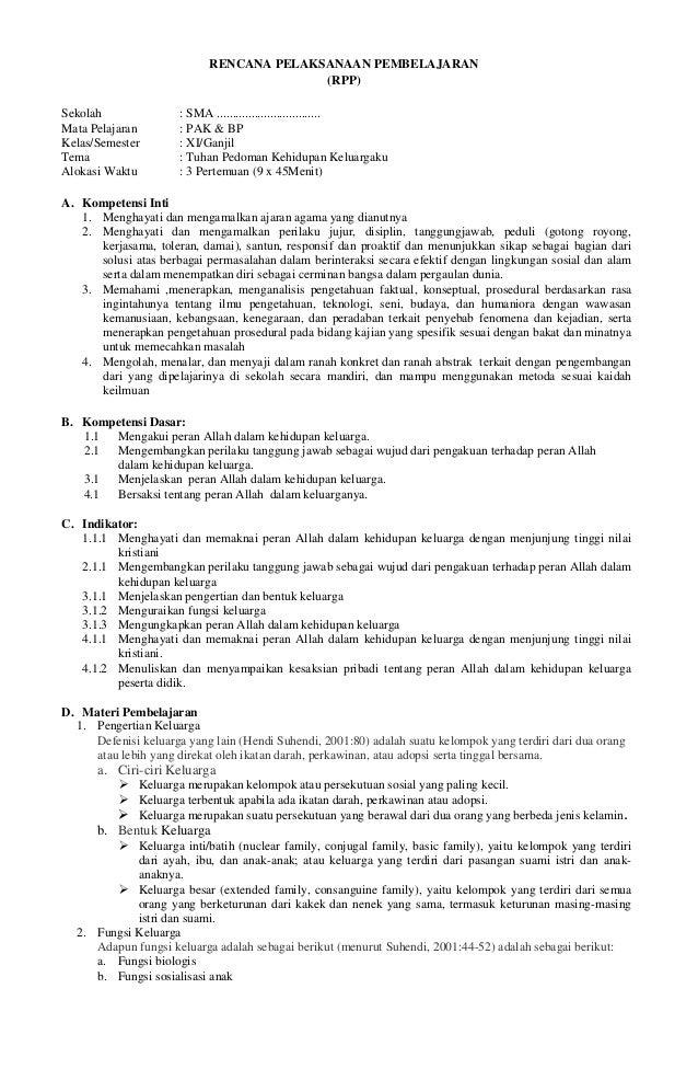 Rpp Sma Pendidikan Agama Kristen Budi Pekerti Pak Xi