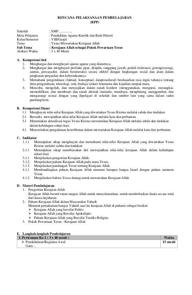 RPP Pendidikan Agama Katolik dan Budi Pekerti (PAKK & BP ...