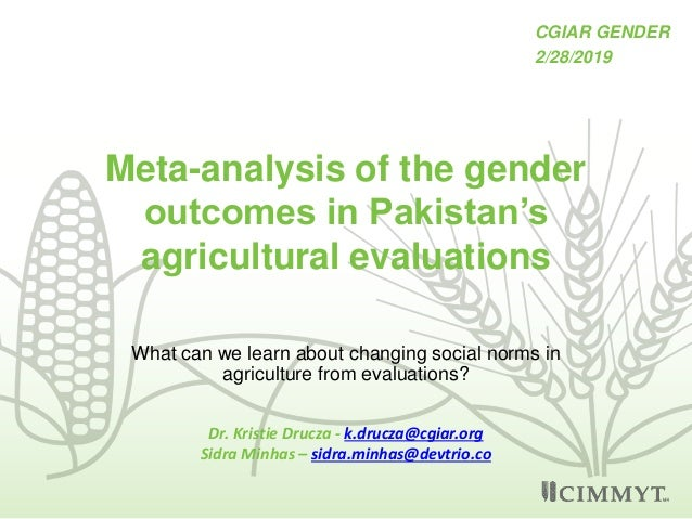 Meta-analysis of the gender outcomes in Pakistan's agricultural evaluations What can we learn about changing social norms ...