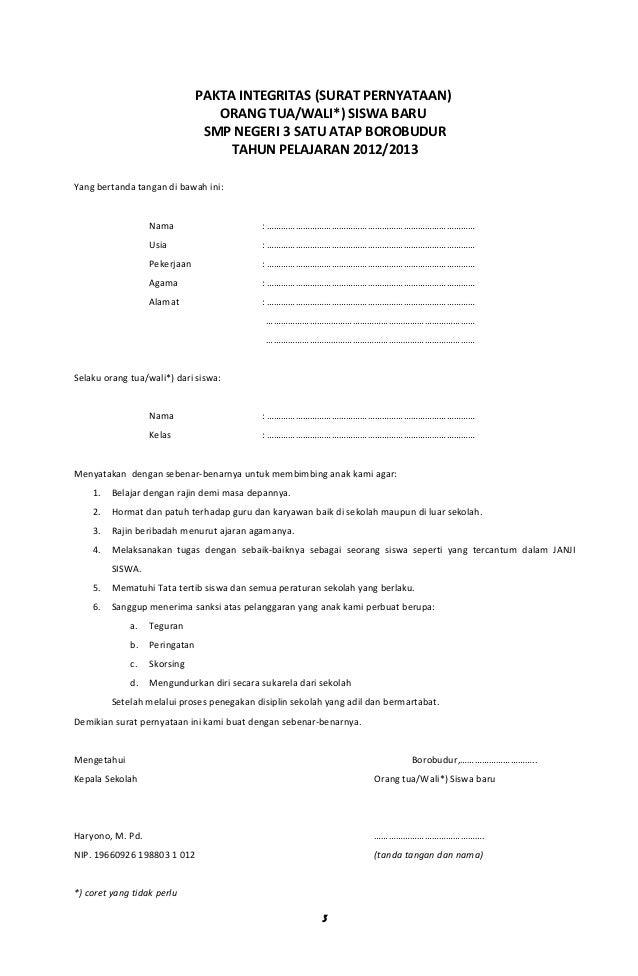 Contoh Surat Pernyataan Orang Tua Untuk Beasiswa - Contoh 317