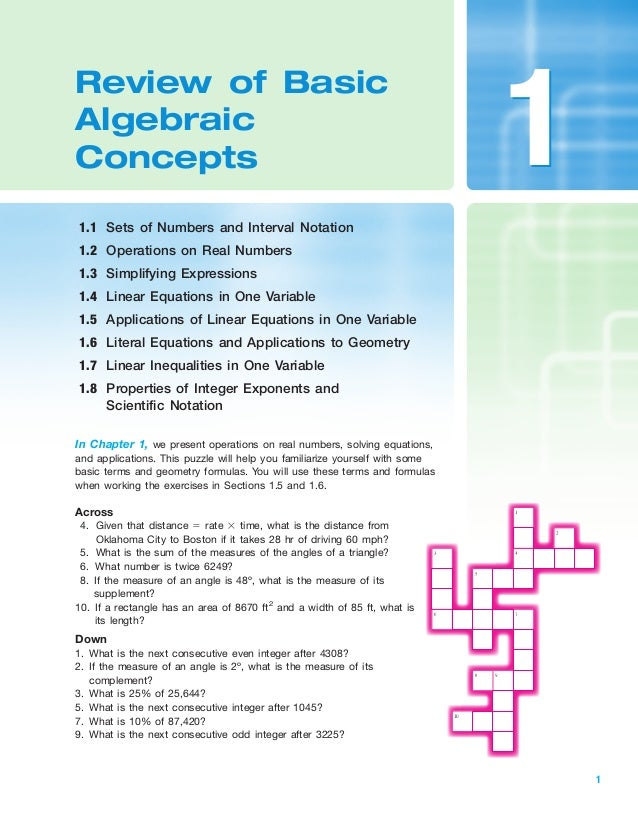 Review of basic algebraic concept