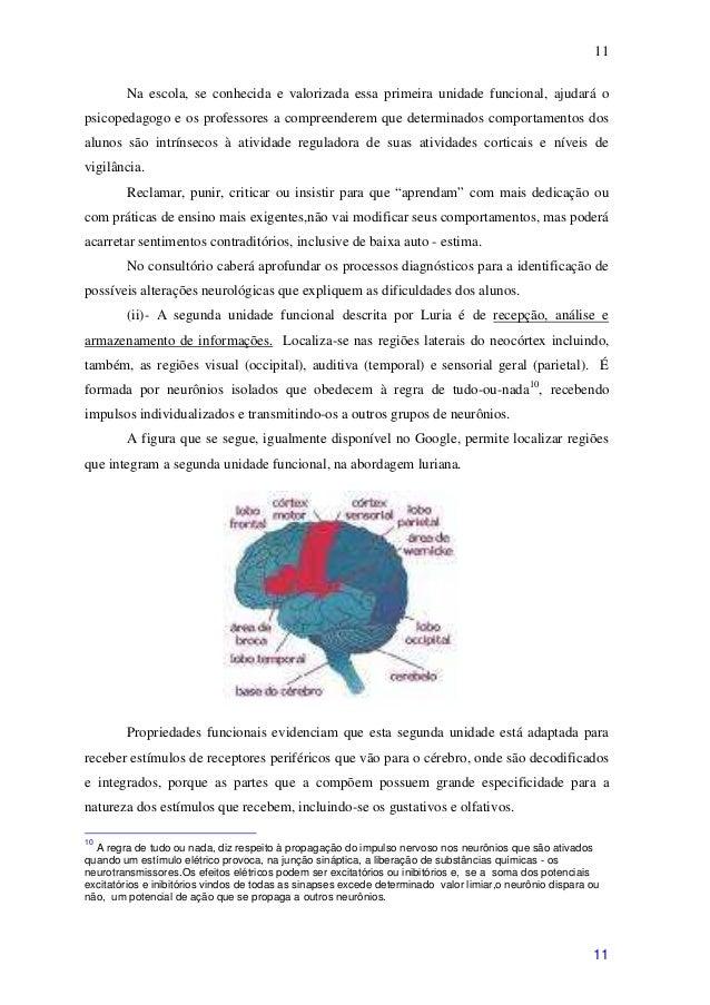 11        Na escola, se conhecida e valorizada essa primeira unidade funcional, ajudará opsicopedagogo e os professores a ...
