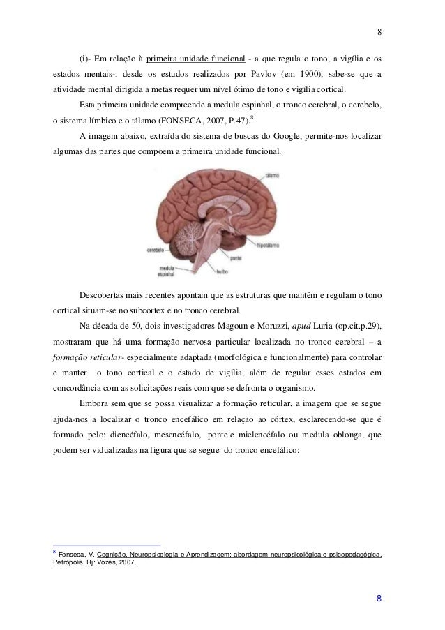 8        (i)- Em relação à primeira unidade funcional - a que regula o tono, a vigília e osestados mentais-, desde os estu...