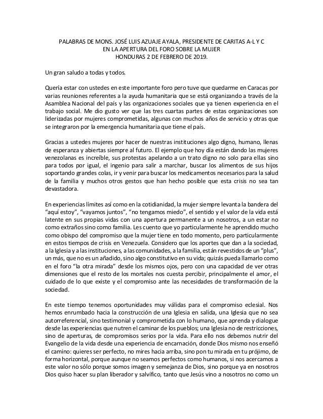 PALABRAS DE MONS. JOSÉ LUIS AZUAJE AYALA, PRESIDENTE DE CARITAS A-L Y C EN LA APERTURA DEL FORO SOBRE LA MUJER HONDURAS 2 ...
