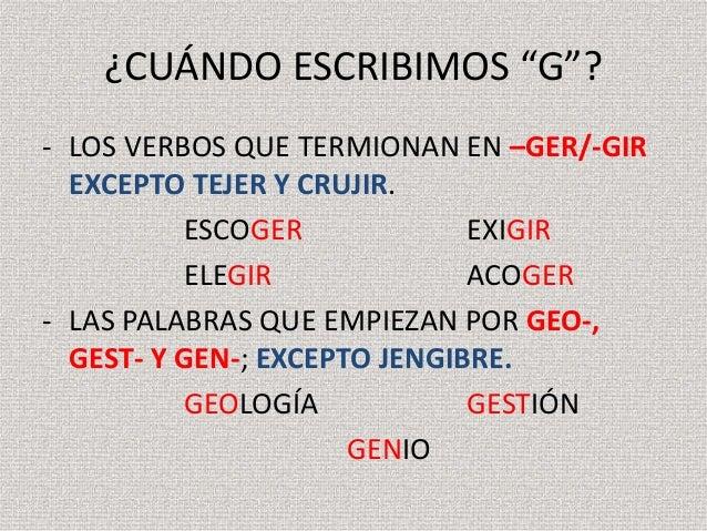 palabras con g y j