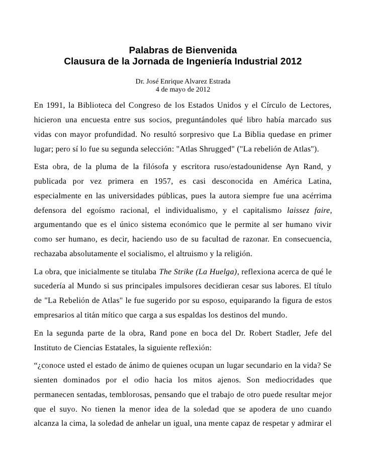 Palabras de Bienvenida         Clausura de la Jornada de Ingeniería Industrial 2012                                Dr. Jos...