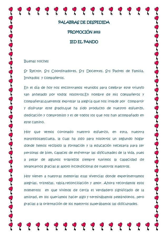 Palabras De Despedida Prom 2012 Ied El Pando