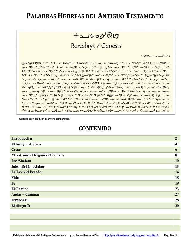 Palabras Hebreas del Antiguo Testamento por: Jorge Romero Díaz http://es.slideshare.net/jorgeromerodiaz3 Pag. No. 1 PALABR...