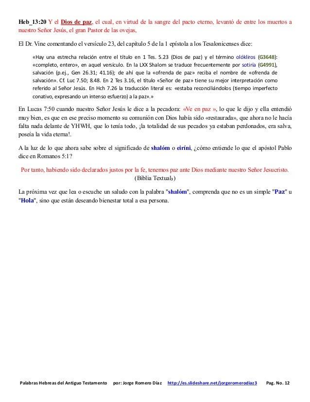 Palabras Hebreas del Antiguo Testamento por: Jorge Romero Díaz http://es.slideshare.net/jorgeromerodiaz3 Pag. No. 12 Heb_1...