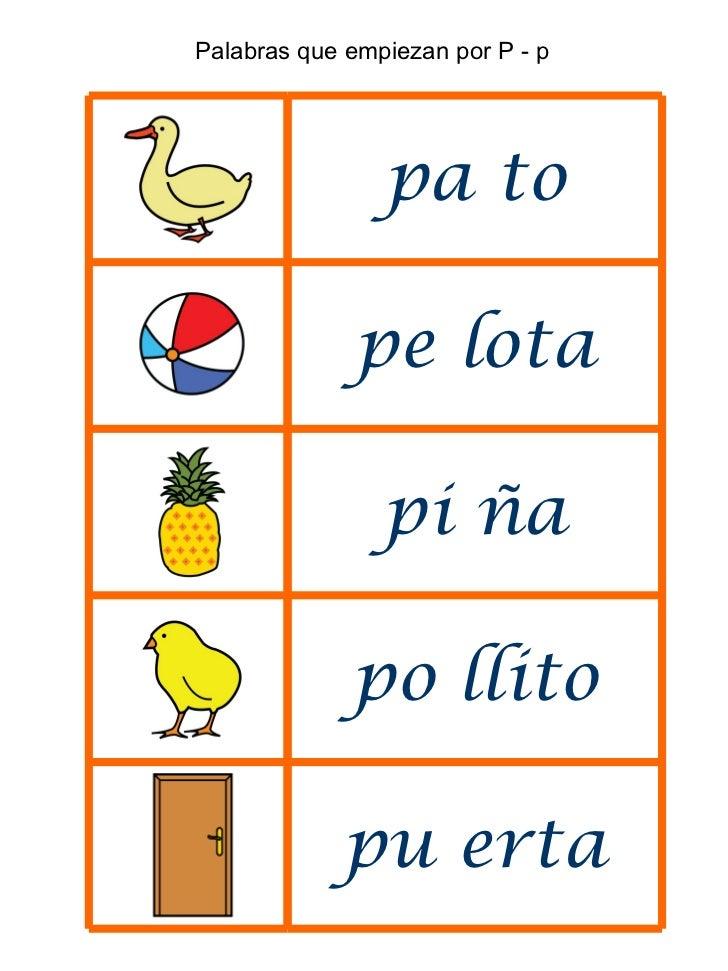 Palabras que empiezan por 5 en una hoja para loat p t m r y otros