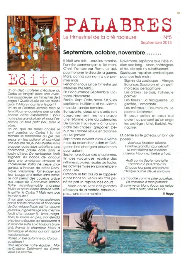 Palabres numero 5 - le journal de la Cité Radieuse de Marseille