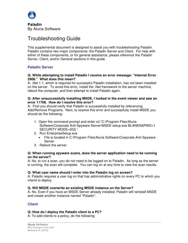 Paladin By Aluria Software  Troubleshooting Guide This supplemental document is designed to assist you with troubleshootin...