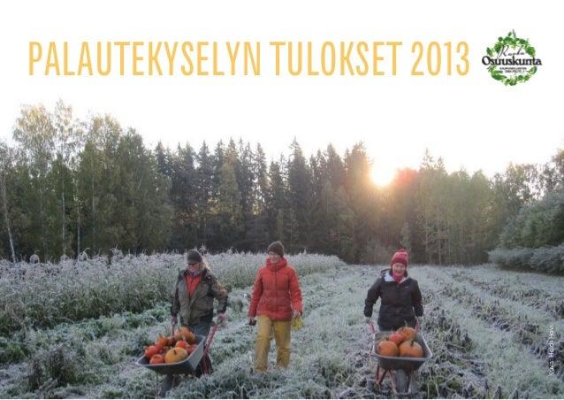 Kuva: Heidi Hovi  PALAUTEKYSELYN TULOKSET 2013