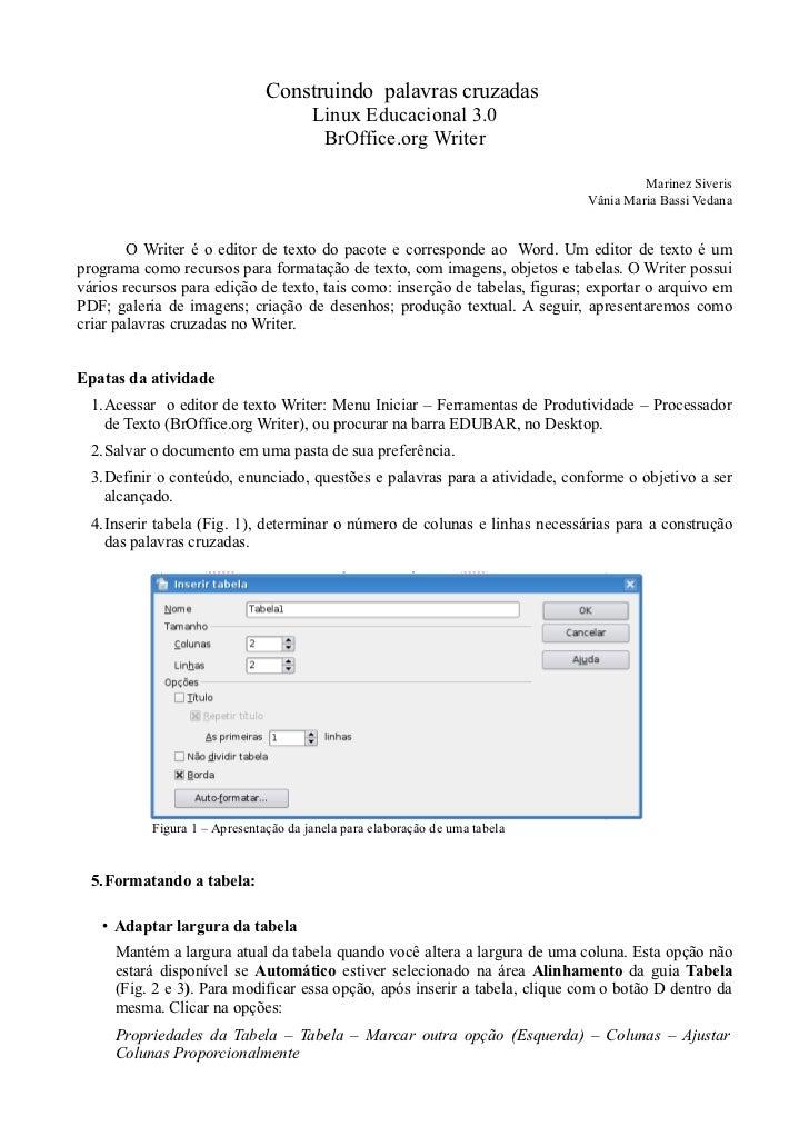 Construindo palavras cruzadas                                       Linux Educacional 3.0                                 ...