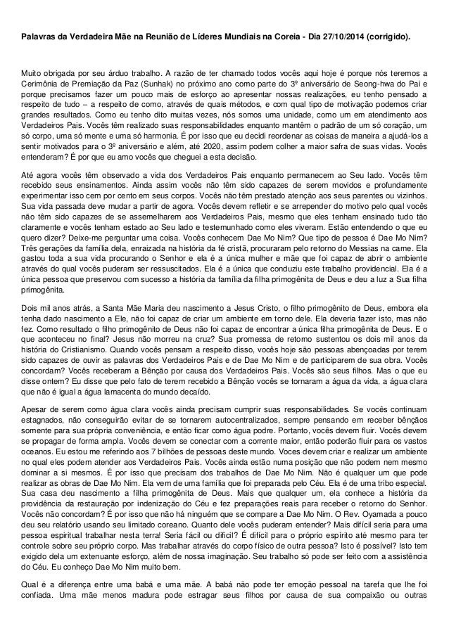 Palavras da Verdadeira Mãe na Reunião de Líderes Mundiais na Coreia - Dia 27/10/2014 (corrigido).  Muito obrigada por seu ...