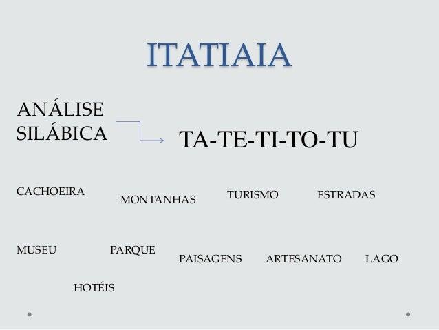 ITATIAIAANÁLISESILÁBICA                TA-TE-TI-TO-TUCACHOEIRA                     TURISMO     ESTRADAS                 MO...