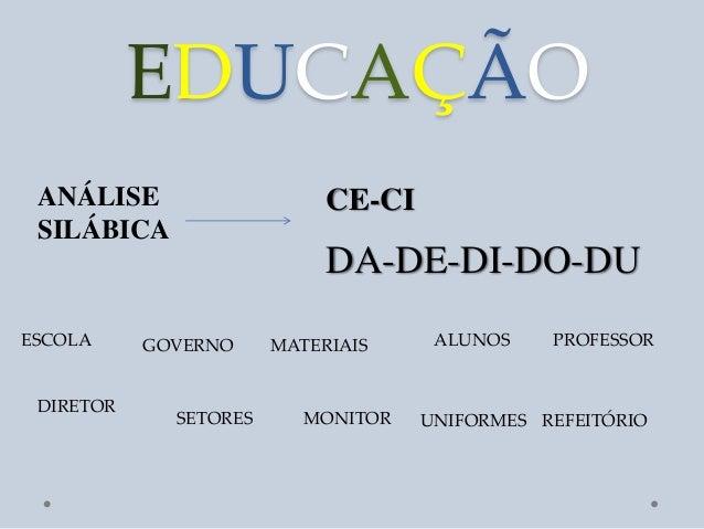 EDUCAÇÃO ANÁLISE                    CE-CI SILÁBICA                            DA-DE-DI-DO-DUESCOLA     GOVERNO     MATERIA...
