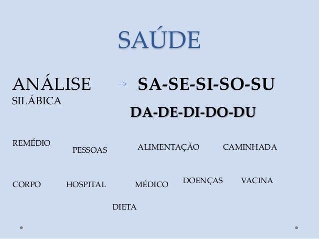 SAÚDEANÁLISE                       SA-SE-SI-SO-SUSILÁBICA                         DA-DE-DI-DO-DUREMÉDIO            PESSOAS...