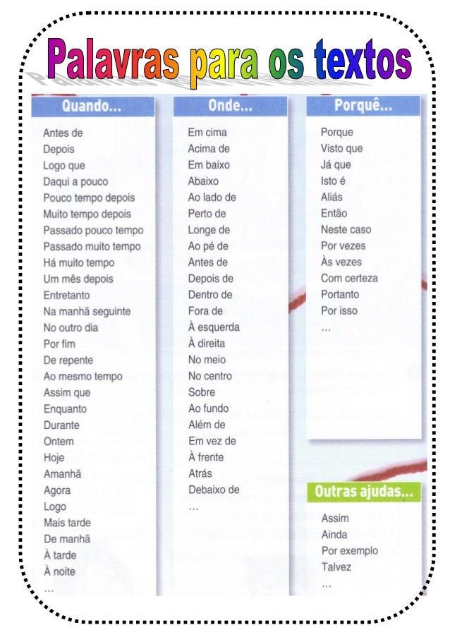 Palavras que ajudam na construção de textos