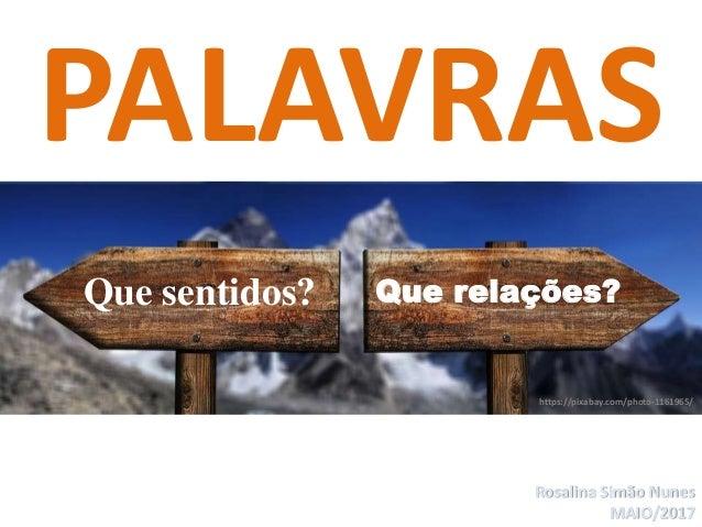 Rosalina Simão Nunes MAIO/2017 PALAVRAS Que sentidos? Que relações? https://pixabay.com/photo-1161965/