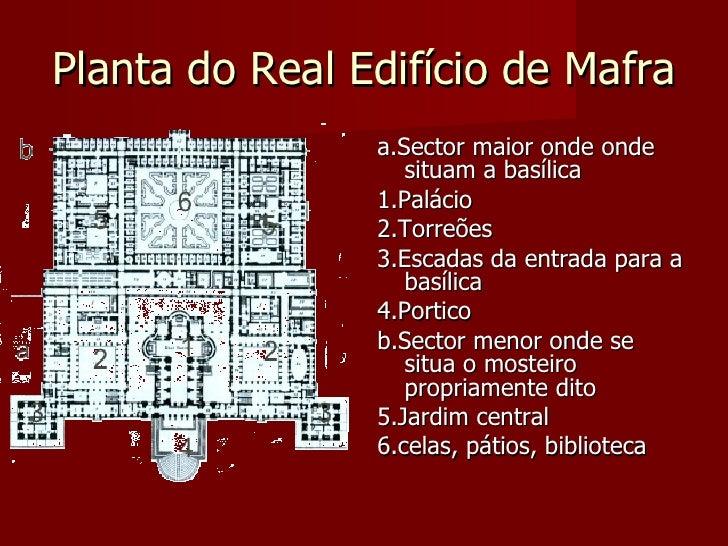 Planta do Real Edifício de Mafra                 a.Sector maior onde onde                    situam a basílica            ...