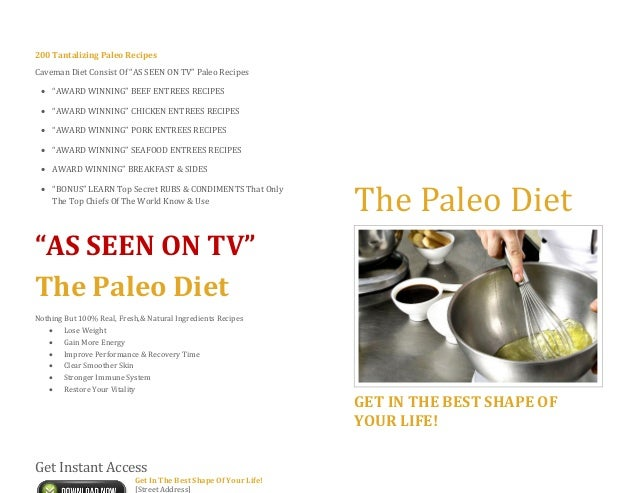 "200 Tantalizing Paleo RecipesCaveman Diet Consist Of ""AS SEEN ON TV"" Paleo Recipes ""AWARD WINNING"" BEEF ENTREES RECIPES ..."