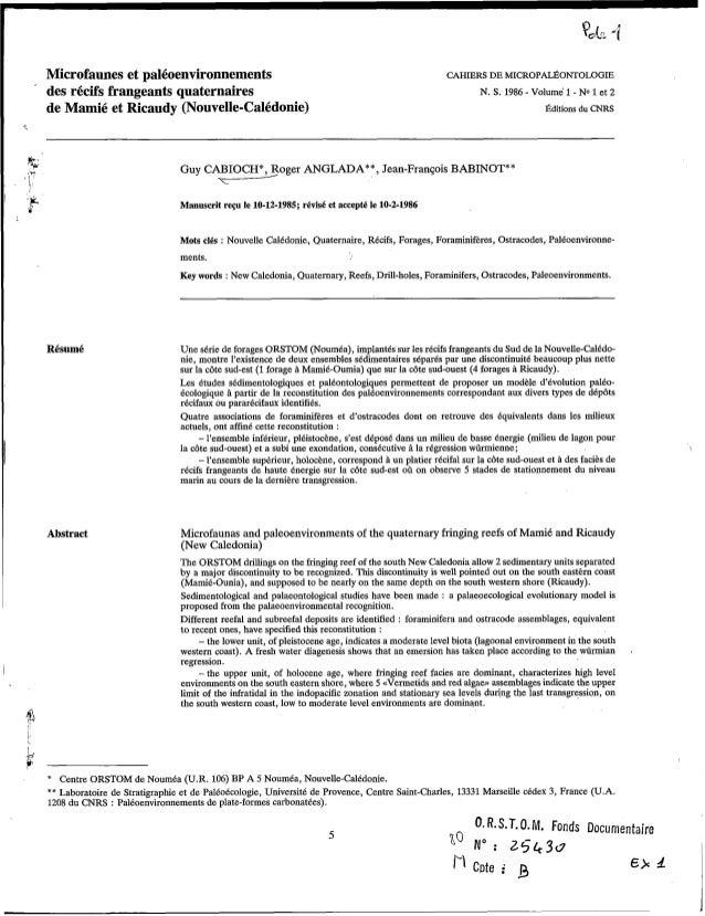 Microfaunes et paléoenvironnements  des récifs frangeants quaternaires  de Mamié et Ricaudy (Nouvelle-Calédonie)  CAHIERS ...