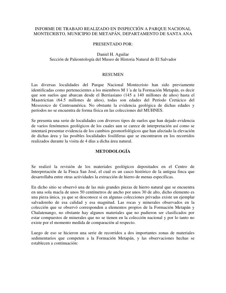 INFORME DE TRABAJO REALIZADO EN INSPECCIÓN A PARQUE NACIONAL MONTECRISTO, MUNICIPIO DE METAPÁN, DEPARTAMENTO DE SANTA ANA ...