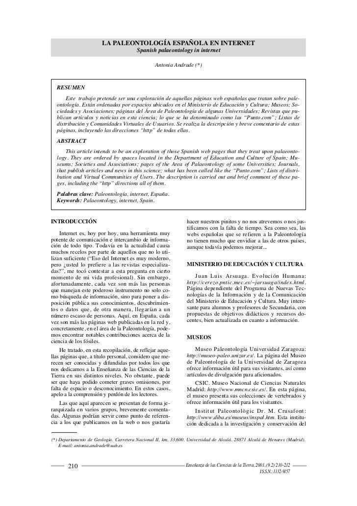 LA PALEONTOLOGÍA ESPAÑOLA EN INTERNET                                          Spanish palaeontology in internet          ...
