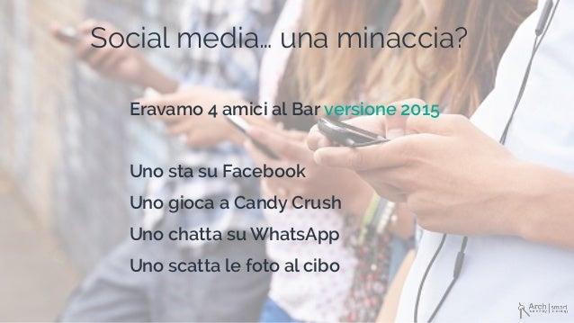 Social media… una minaccia? Eravamo 4 amici al Bar versione 2015 Uno sta su Facebook Uno gioca a Candy Crush Uno chatta su...