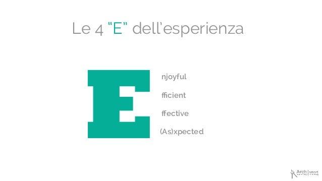 """Le 4 """"E"""" dell'esperienza E njoyful fficient ffective (As)xpected"""