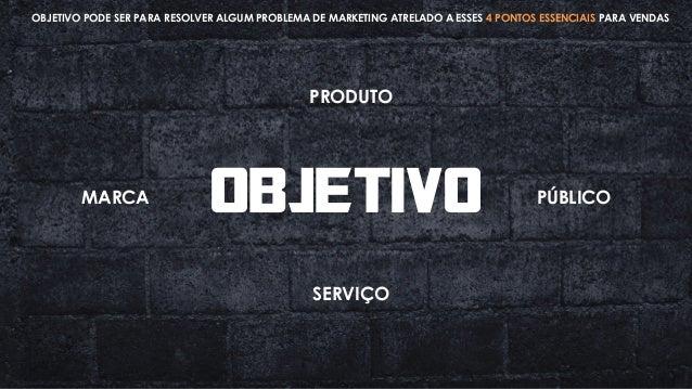 OBJETIVO PRODUTO SERVIÇO MARCA PÚBLICO OBJETIVO PODE SER PARA RESOLVER ALGUM PROBLEMA DE MARKETING ATRELADO A ESSES 4 PONT...