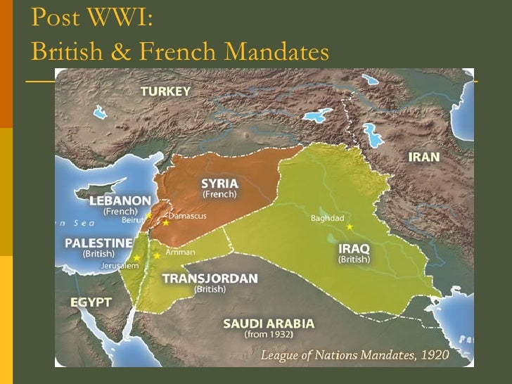Post WWI:  British & French Mandates